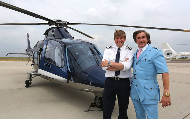 Alan Partridge travels by helicopter from Norwich to London in July 2013