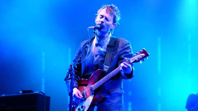 Thom Yorke onstage with Radiohead, Glastonbury 1997