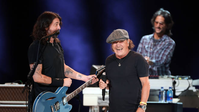 Dave Grohl and Brian Johnson perform on 2 May 2021