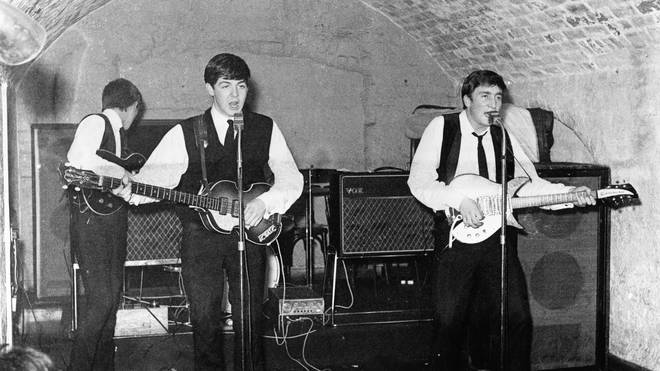 The Beatles onstage at the original Cavern Club, 22 August 1962