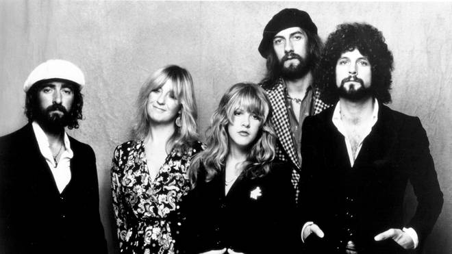 The classic line-up of Fleetwood Mac with John McVie, Christine McVie, Stevie Nicks, Mick Fleetwood, and Lindsey Buckingham.