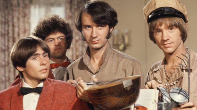 Davy Jones, Mickey Dolenz, Peter Tork and Mike Nesmith on the set of the television show The Monkees in October 1967