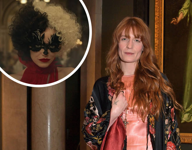 Florence Welch with Emma Stone as Cruella inset