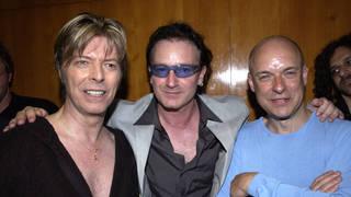 Brian Eno and two of his collaborators: David Bowie and Bono