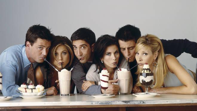 The Cast Of Friends: Matthew Perry, Jennifer Aniston, David Schwimmer, Courteney Cox, Matt LeBlanc and Lisa Kudrow.