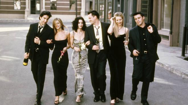 Friends cast David Schwimmer as Ross Geller, Jennifer Aniston as Rachel Green, Courteney Cox as Monica Geller, Matthew Perry as Chandler Bing, Lisa Kudrow as Phoebe Buffay, Matt LeBlanc as Joey Tribbiani