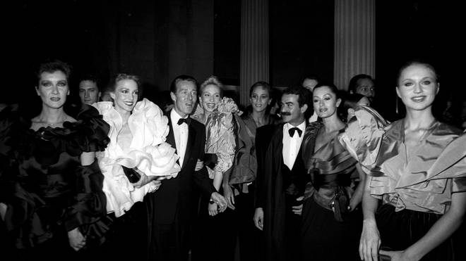 Roy Halston with models and his lover Victor Hugo in 1980