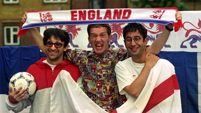 Ian Broudie of The Lightning Seeds, Frank Skinner and David Baddiel launch Three Lions