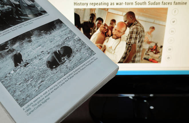Kevin Carter's photo of a starving child and a vulture during the 1993 famine in South Sudan, alongside a similar news headline in 2014.