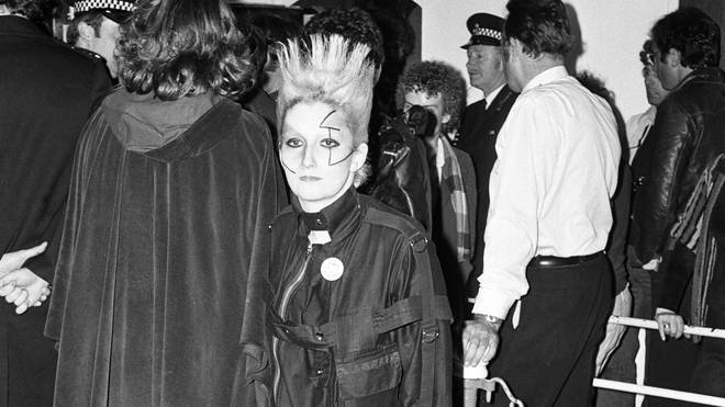 Sex Pistols associate Jordan Mooney at the Jubilee boat trip, 1977