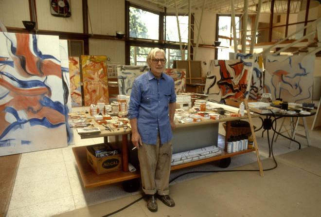 Willem De Kooning in his New York studio circa 1982