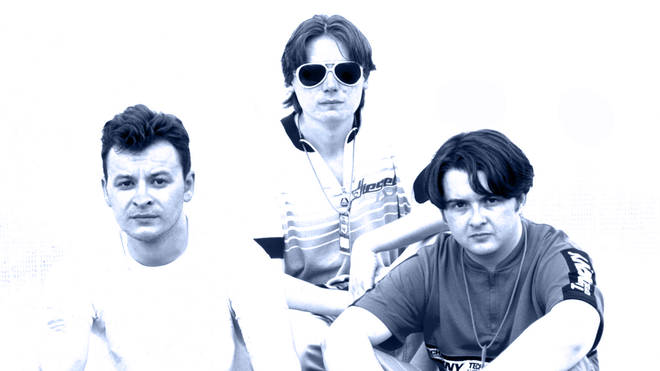 Manic Street Preachers at the Phoenix Festival on 19 July 1996:  James Dean Bradfield, Nicky Wire and Sean Moore