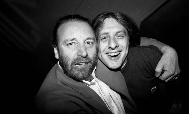 Peter Hook and Shaun Ryder in the Hacienda, Manchester 1989