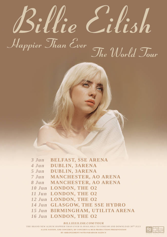 Billie Eilish's Happier Than Ever Tour hits the UK in summer 2022