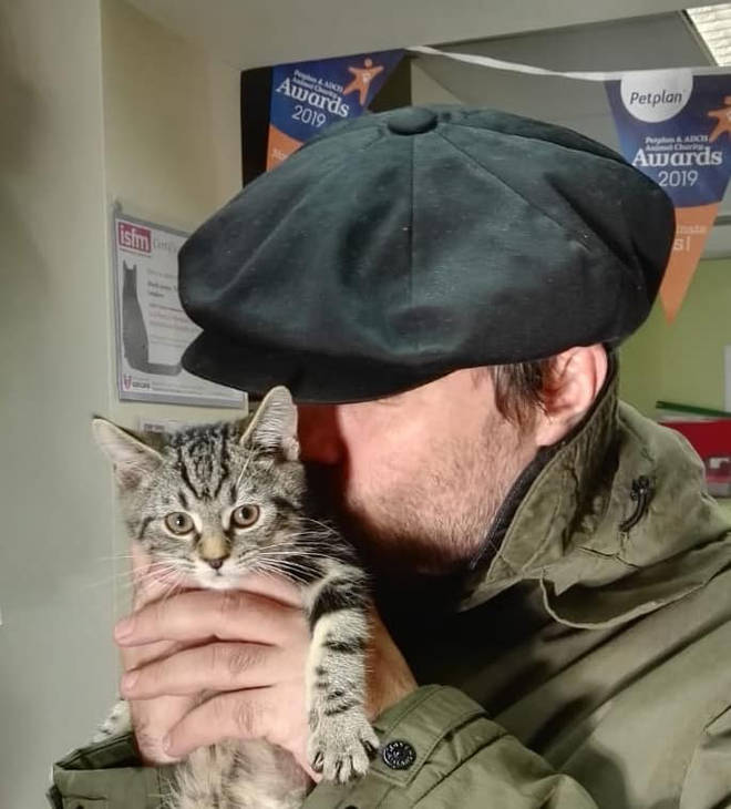 Liam Gallagher holds his new kitten Sid, which he adopted from Wood Green, The Animals Charity