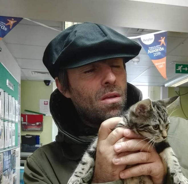 Liam Gallagher poses with pet kitten Sid who he rehomed from Wood Green, The Animals Charity