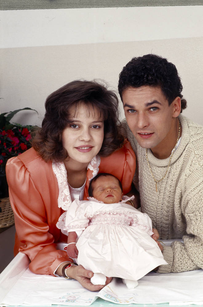 Andrina e Roberto Baggio con la neonata Valentina