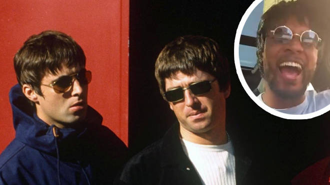 Noel and Liam Gallagher with image of ex footballer Patrice Evra inset