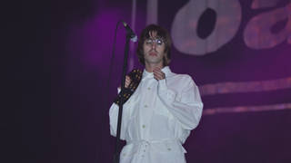 Liam Gallagher plays with Oasis at Knebworth