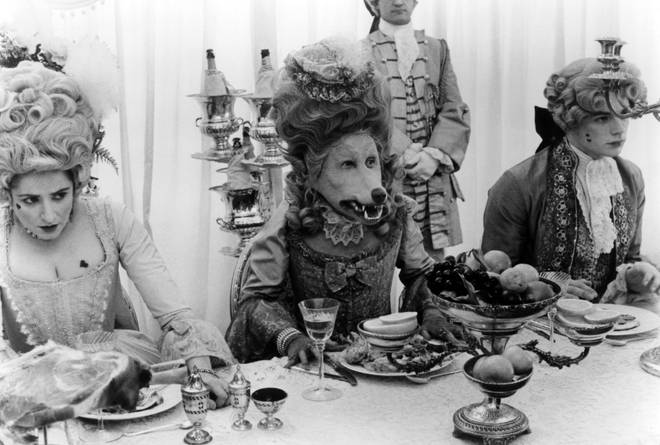 A dinner party becomes sinister in the film in a scene from the 1984 film The Company Of Wolves