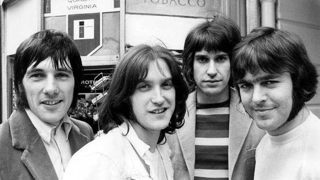The line-up of The Kinks in 1968: Mick Avory, Dave Davies, Ray Davies, John Dalton