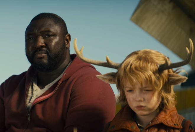 Nonso Anonzie stars as Tommy Jepperd alongside Christian Convery, who plays Gus, in Sweet Tooth