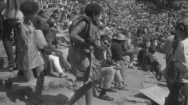 You can see the stone steps of the amphitheatre at the Mount Tamalpais Fantasy Fair & Music Festival  in 1967
