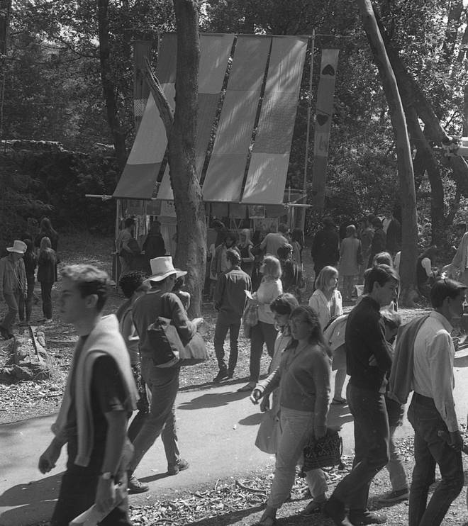 Something interesting going on in the woods at the world's first modern rock festival, June 1967