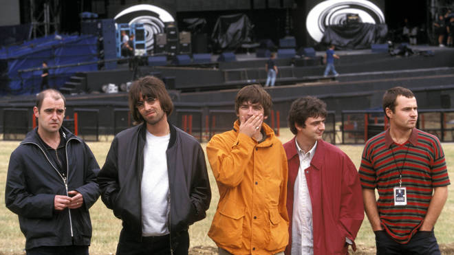 Oasis before their Knebworth shows in 1996: Paul 'Bonehead' Arthurs, Liam Gallagher, Noel Gallagher, Paul 'Guigsy' McGuigan, Alan White