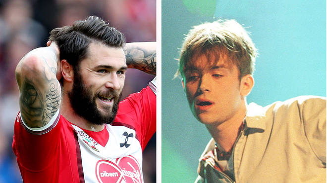 Southampton FC football player Charlie Austin and Blur frontman Damon Albarn in 1995