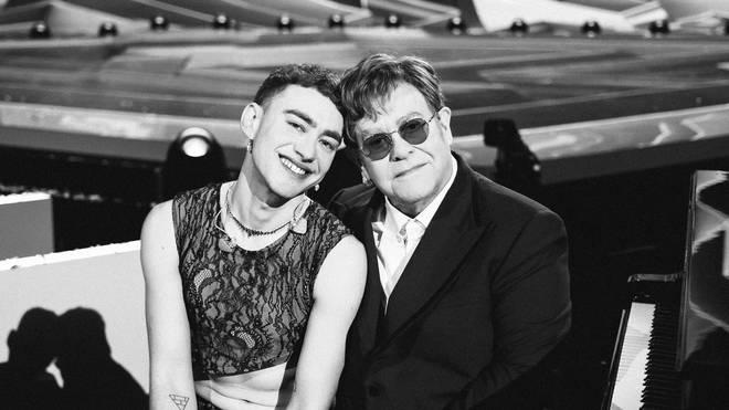 Sir Elton John and Olly Alexander at the BRIT Awards in May 2021