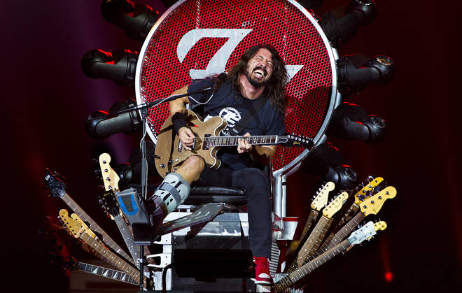 Dave Grohl performs on stage in a special throne, due to his broken leg, at Ziggodome, Amsterdam, Netherlands, 05 November 2015.