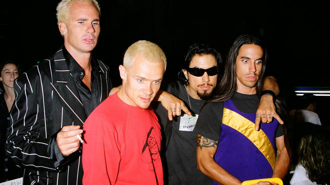 Chad Smith, Flea, Dave Navarro and Anthony Kiedis of Red Hot Chili Peppers at the1995 MTV Video Music Awards