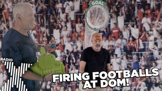 Chris fires footballs at Dom's head!