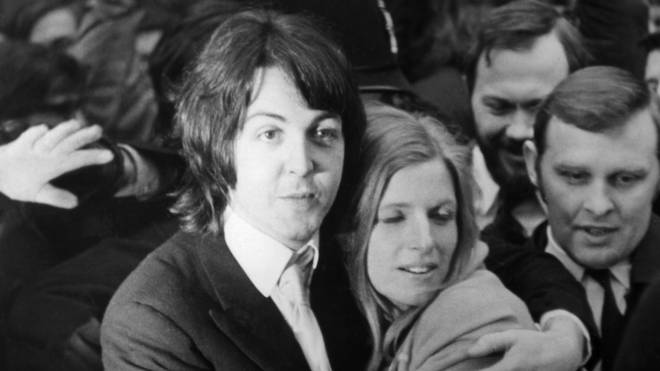 Paul and Linda McCartney on their wedding day. 12 March 1969