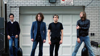 The Killers in a press shot from 2004: Ronnie Vannuci Jr, Dave Keuning, Brandon Flowers and Mark Stoermer