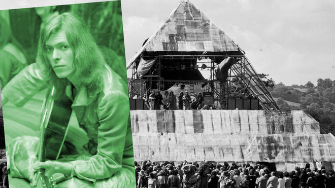 David Bowie and Glastonbury's Pyramid Stage, both pictured in 1971