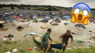 Glastonbury festival is swamped in the mud and rain, 2005