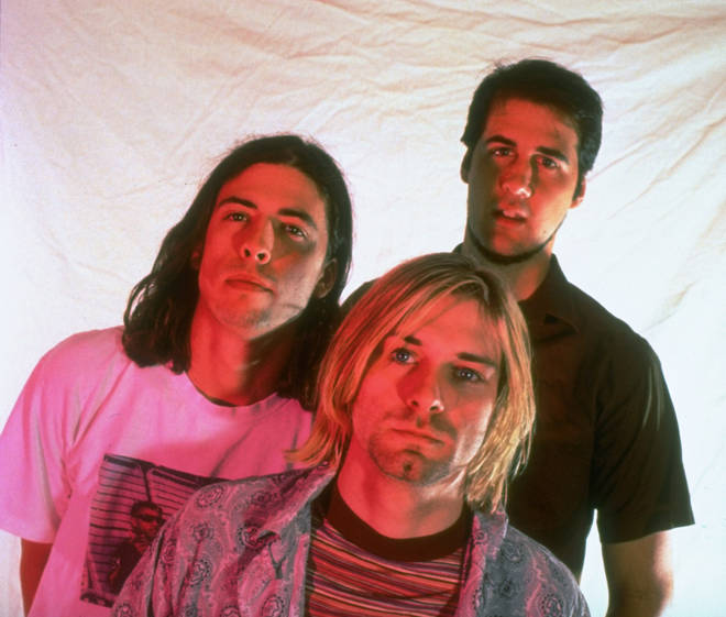 Nirvana's Dave Grohl, Kurt Cobain and Krist Novoselic in 1993