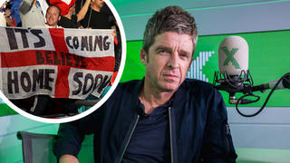 Noel Gallagher with England fans inset