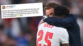 Bukayo Saka is consoled by Gareth Southgate after England lose to Italy in the Euro 2020 final