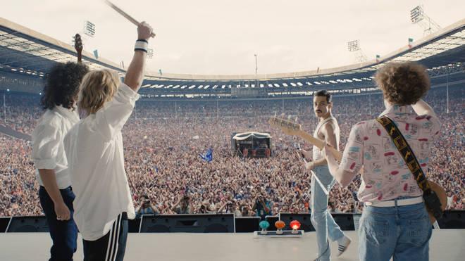 The recreation of Live Aid in the film Bohemian Rhapsody: Gwilym Lee as Brian May, Ben Hardy as Roger Taylor, Rami Malek as Freddie Mercury, Joe Mazzello as John Deacon