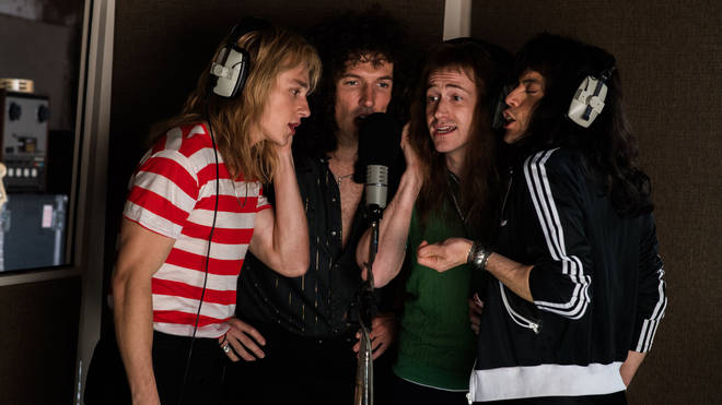 Queen recording the opera section in Bohemian Rhapsody: Ben Hardy as Roger Taylor, Gwilym Lee as Brian May, Joe Mazzello as John Deacon, Rami Malek as Freddie Mercury