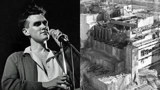 Morrissey onstage in 1985; the Chernobyl disaster in 1985