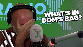 Chris Moyles and the team empty out Dom's bag