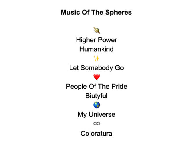 Coldplay reveal tracklist for Music Of The Spheres