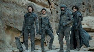 Rebecca Ferguson, Zendaya, Oscar Isaac and Timothée Chalamet in Dune