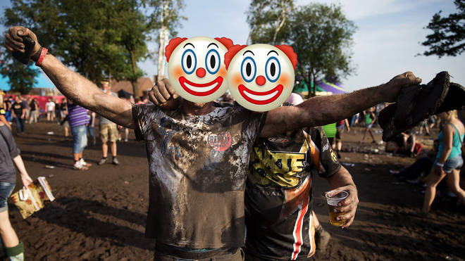 Two festival-goers who will regret that mudbath later on