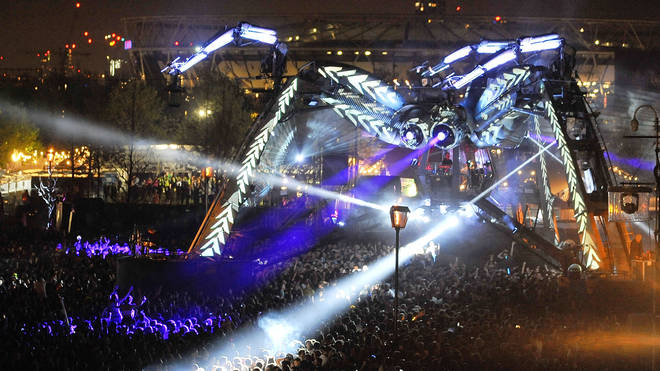 The 50 tonne Arcadia Spider at Arcadia's 10th Anniversary Metamorphosis show at Queen Elizabeth Park on May 5, 2018