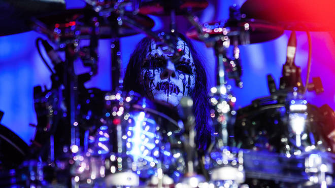 Joey Jordison performing live with Slipknot in 2012